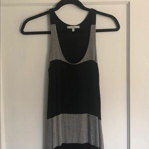Black and gray striped maxi dress